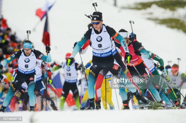 Antonin Guigonnat of France competes during the men's 15 Km Mass Start competition of IBU World Cup Biathlon in Nove Mesto Czech Republic on December...