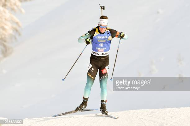 Antonin Guigonnat of France during the Men 125 km Pursuit Competition at Biathlon Stadium Hochfilzen on December 15 2018 in Hochfizen Austria
