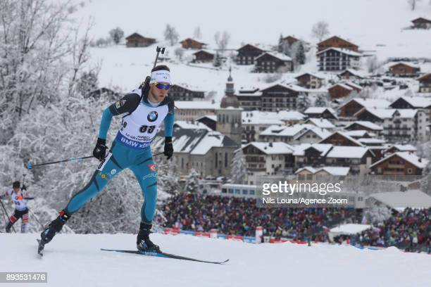 Antonin Guigonnat of France in action during the IBU Biathlon World Cup Men's Sprint on December 15, 2017 in Le Grand Bornand, France.