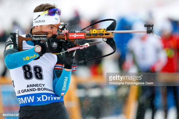 Antonin Guigonnat of France in action during the IBU Biathlon World Cup Men's Sprint on December 15 2017 in Le Grand Bornand France