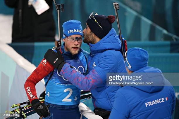 Antonin Guigonnat of France Martin Fourcade of France during the Biathlon Men's Relay at Alpensia Biathlon Centre on February 23 2018 in...