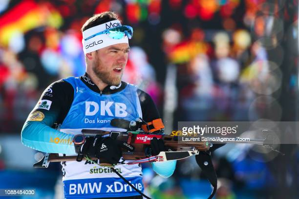 Antonin Guigonnat of France takes 3rd place during the IBU Biathlon World Cup Men's Sprint on January 25 2019 in Antholz Anterselva Italy