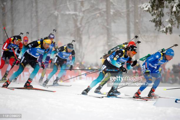 Antonin Guigonnat of France wins the silver medal during the IBU Biathlon World Championships Men's and Women's Mass Start on March 17, 2019 in...
