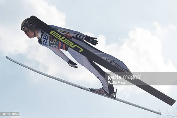 Antonin Hajek of Czech Republic competes during FIS World Cup Planica Flying Hill Individual Ski Jumping. Ski jumping is a form of nordic skiing in...