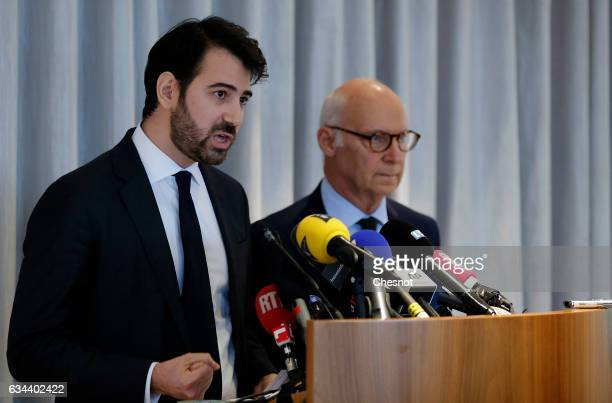 "Antonin Levy , lawyer for Francois Fillon, French presidential election candidate for the right-wing ""Les Republicains"" party flanked by Pierre..."