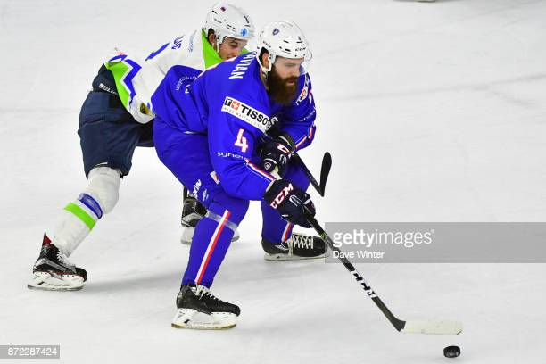 Antonin Manavian of France and Ziga Jeglic of Slovenia during the EIHF Ice Hockey Four Nations tournament match between France and Slovenia on...