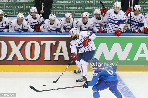 Antonin Manavian of France during the 2014 IIHF World Championship between Italy and France at Chizhovka arena on May 11 2014 in Minsk Belarus