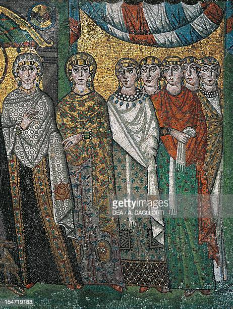 Antonina and Giovannina Belisarius' wife and daughter and ladies of the court detail from Theodora and her entourage mosaic south wall of the apse...