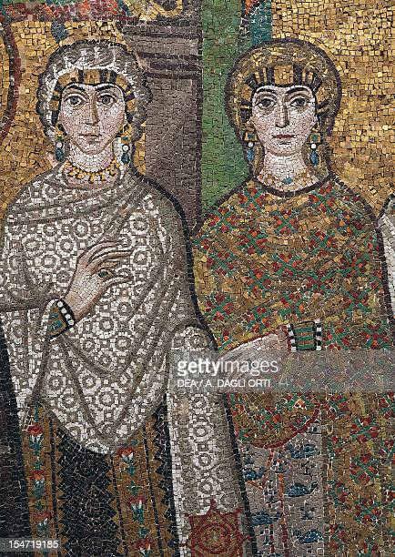 Antonina and Giovannina Belisarius' wife and daughter detail from Theodora and her entourage mosaic south wall of the apse Basilica of San Vitale...