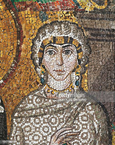 Antonina Belisarius' wife detail from Theodora with her entourage mosaic south wall of the apse Basilica of San Vitale Ravenna EmiliaRomagna Italy...
