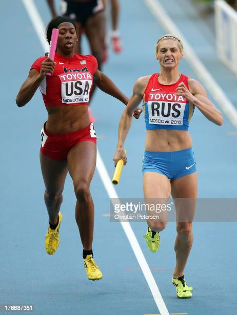Antonina Krivoshapka of Russia crosses the line to win gold ahead of Francena McCorory of the United States in the Women's 4x400 metres relay final...