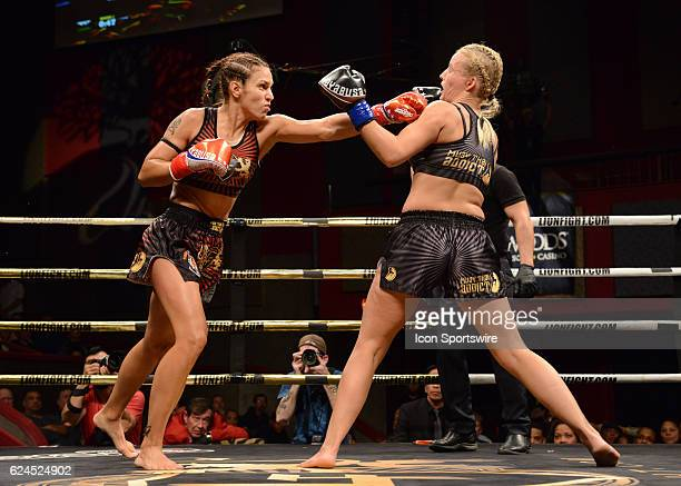 Antonina Shevchenko battles Ilona Wijmans during their Lightweight bout on November 18 2016 at the Fox Theater in Mashantucket Connecticut Antonina...