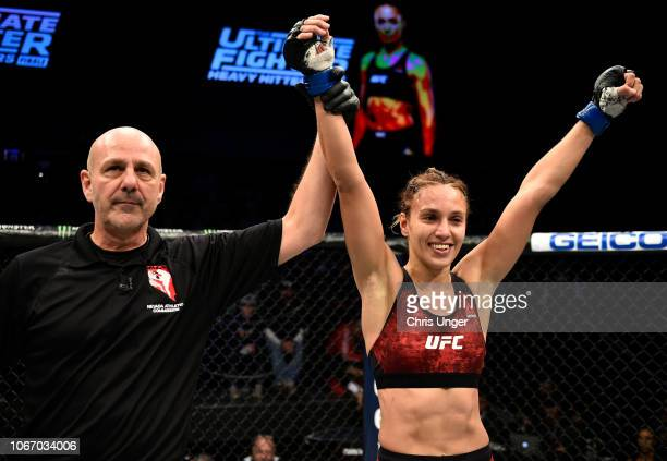 Antonina Shevchenko of Kyrgyzstan celebrates after her victory over Ji Yeon Kim during The Ultimate Fighter Finale event inside The Pearl concert...