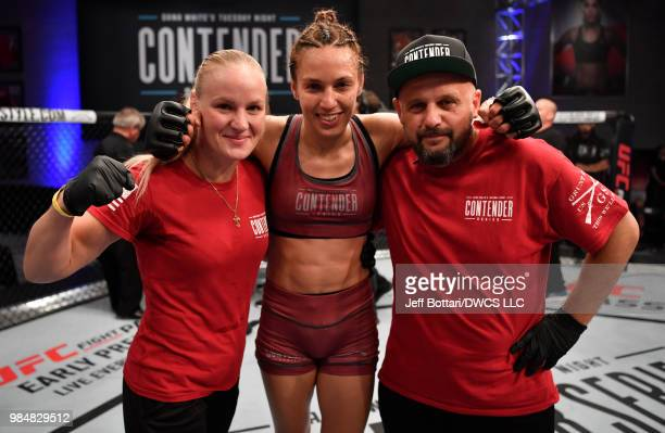 Antonina Shevchenko of Kyrgyzstan celebrates after her victory over Jaimee Nievera in their women's flyweight bout during Dana White's Tuesday Night...