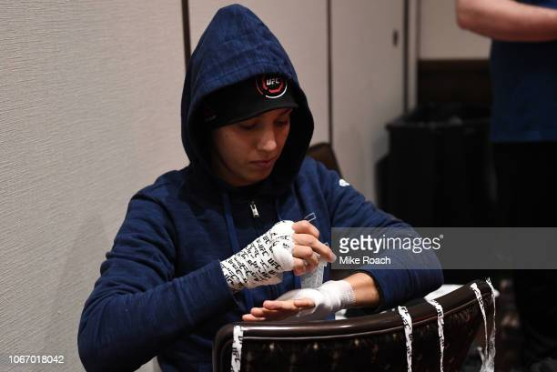 Antonina Shevchenko of Kyrgyzstan has her hands wrapped prior to fighting during The Ultimate Fighter Finale event inside The Pearl concert theater...