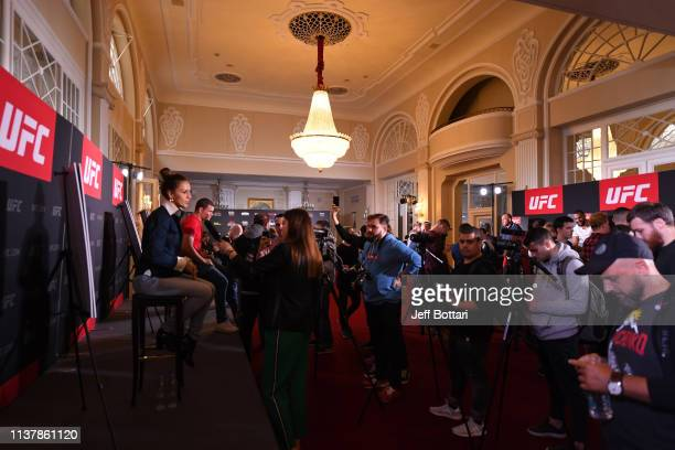 Antonina Shevchenko of Kyrgyzstan interacts with the media during the UFC Fight Night Ultimate Media Day at Hotel Astoria on April 18 2019 in Saint...