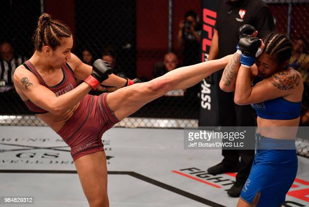 Antonina Shevchenko of Kyrgyzstan kicks Jaimee Nievera in their women's flyweight bout during Dana White's Tuesday Night Contender Series at the TUF...