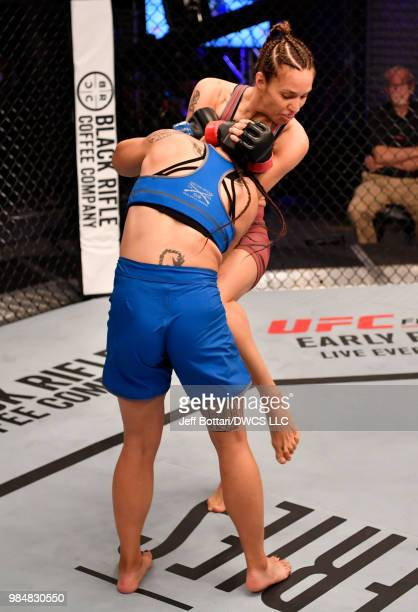 Antonina Shevchenko of Kyrgyzstan knees Jaimee Nievera in their women's flyweight bout during Dana White's Tuesday Night Contender Series at the TUF...
