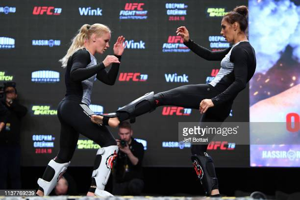 Antonina Shevchenko of Kyrgyzstan performs an open workout for fans and media with her sister Valentina Shevchenko during the UFC Fight Night Open...