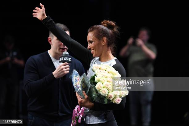 Antonina Shevchenko of Kyrgyzstan performs an open workout for fans and media during the UFC Fight Night Open Workouts event at A2 Green Concert Hall...