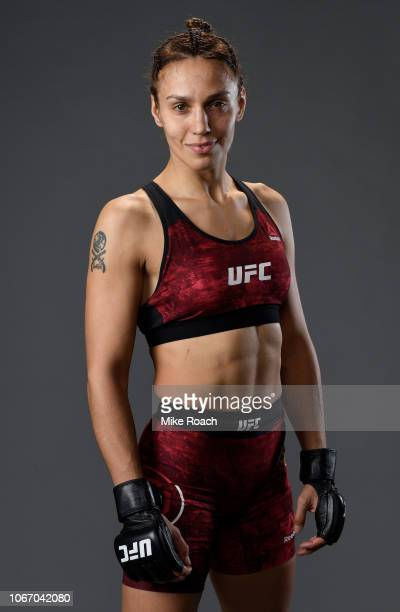 Antonina Shevchenko of Kyrgyzstan poses for a portrait backstage after her victory over Ji Yeon Kim during The Ultimate Fighter Finale event inside...