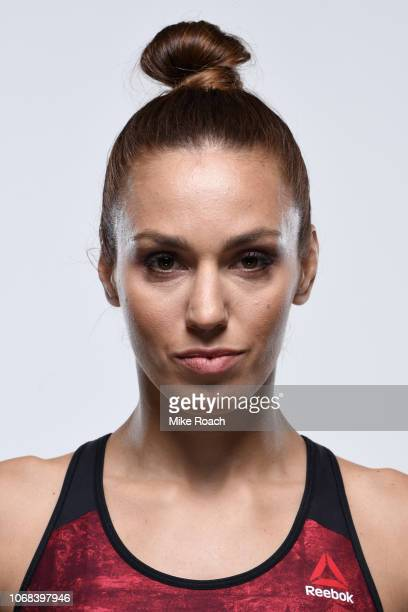 Antonina Shevchenko of Kyrgyzstan poses for a portrait during a UFC photo session on November 26 2018 in Las Vegas Nevada