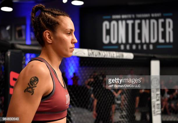 Antonina Shevchenko of Kyrgyzstan prepares to fight Jaimee Nievera in their women's flyweight bout during Dana White's Tuesday Night Contender Series...