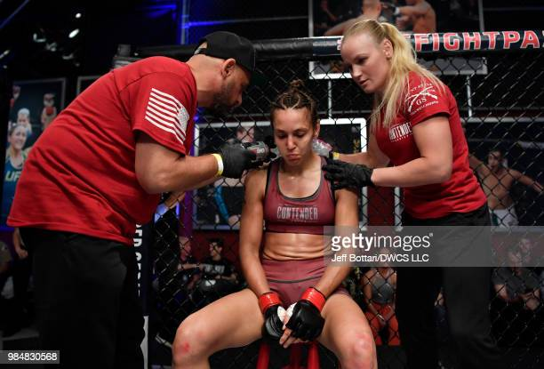 Antonina Shevchenko of Kyrgyzstan sits in her corner between rounds of her women's flyweight bout against Jaimee Nievera during Dana White's Tuesday...