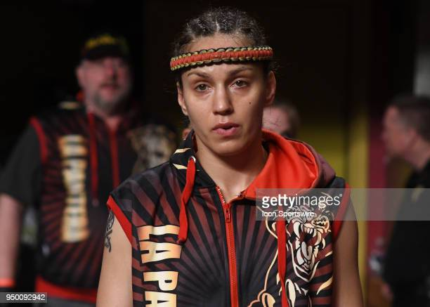 Antonina Shevchenko walks to the ring Antonina Shevchenko takes on Claire Baxter in a Womens Super Lightweight Title bout on April 21 2018 at Lion...