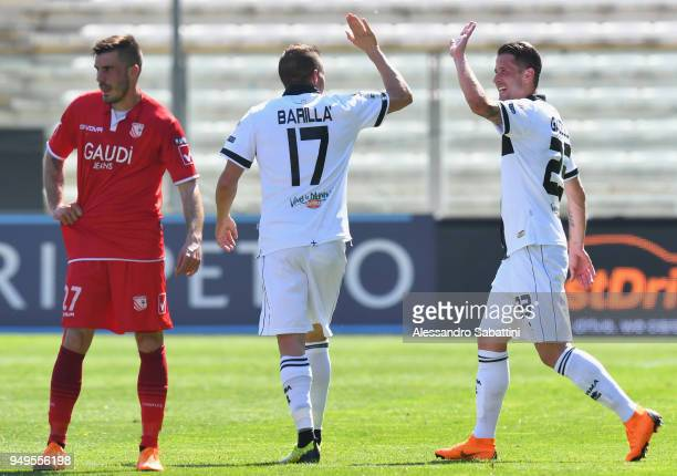 Antonino Barillà of Parma Calcio celebrates after scoring the opening goal during the serie B match between Parma Calcio and Carpi FC at Stadio Ennio...