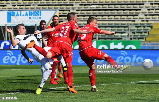 Antonino Barillà of Parma Calcio scores his team second goal during the serie B match between Parma Calcio and Carpi FC at Stadio Ennio Tardini on...