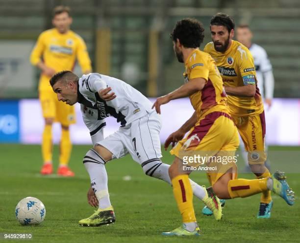 Antonino Barilla of Parma Calcio 1913 is challenged by Manuel Iori of AS Cittadella during the serie B match between Parma Calcio and AS Cittadella...