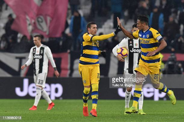 Antonino Barilla of Parma celebrates after scoring his goal during the Serie A match between Juventus and Parma Calcio at Allianz Stadium on February...
