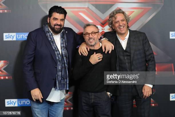 Antonino Canavacciuolo Bruno Barbieri and Giorgio Locatelli attend X Factor tv show at Mediolanum Forum on December 13 2018 in Milan Italy