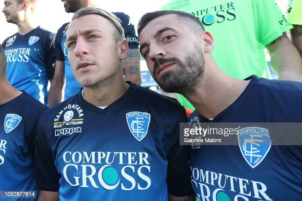 Antonino La Gumina and Francesco Caputo of Empoli FC during Empoli FC Official Team Photo on October 24 2018 in Empoli Italy