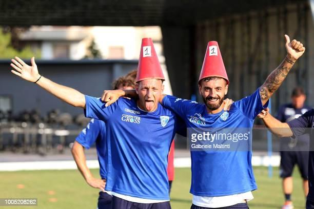 Antonino La Gumina and Francesco Caputo of Empoli FC during training session on July 25, 2018 in Empoli, Italy.