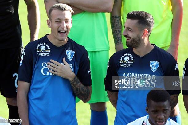 Antonino La Gumina and Francesco Caputo smile during the Empoli FC Official Team Photo on October 24 2018 in Empoli Italy