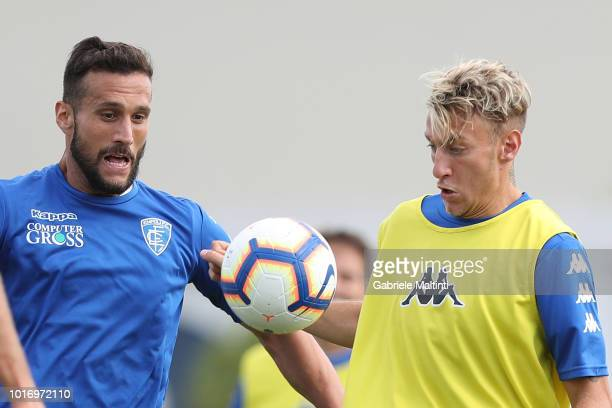 Antonino La Gumina and Matias Silvestre of Empoli FC in action during a training session on August 15 2018 in Empoli Italy