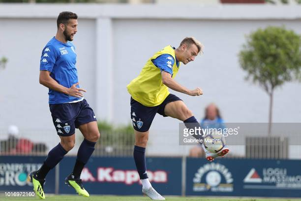 Antonino La Gumina and Matias Silvestre of Empoli FC in action during the training session on August 15 2018 in Empoli Italy