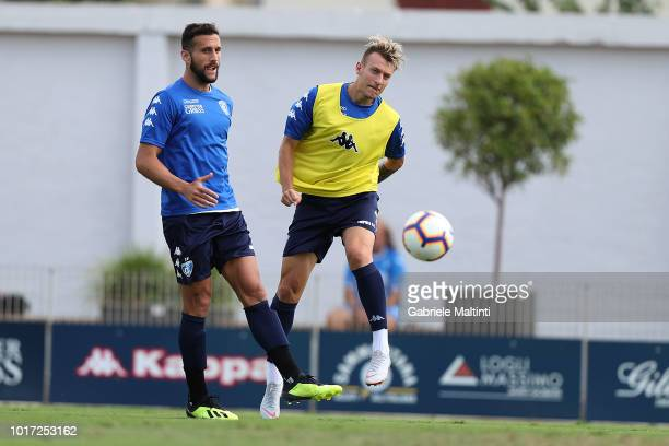 Antonino La Gumina and Matias Silvestre of Empoli FC in action gestures during the training session on August 15 2018 in Empoli Italy