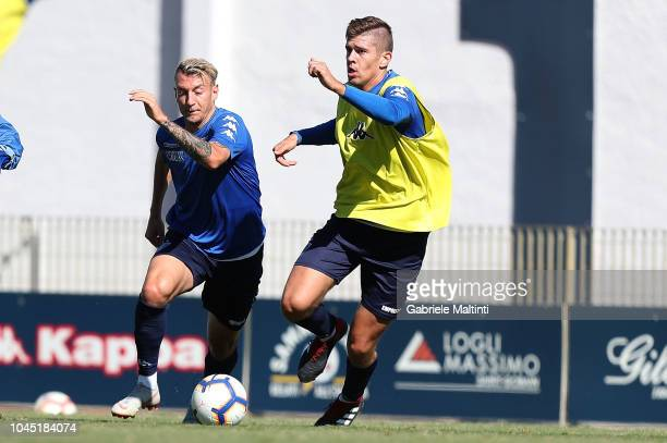 Antonino La Gumina and Michal Marcjanik of Empoli FC during training session on October 3 2018 in Empoli Italy