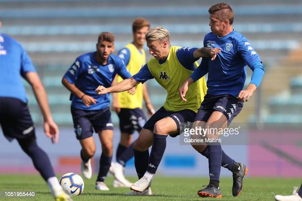 Antonino La Gumina and Michal Marcjanik of Empoli FC during training session on October 12 2018 in Empoli Italy