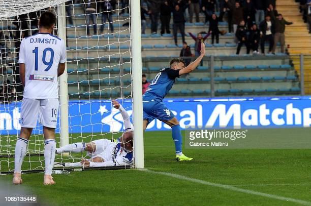 Antonino La Gumina of Empoli FC celebrates after scoring a goal during the Serie A match between Empoli and Atalanta BC at Stadio Carlo Castellani on...