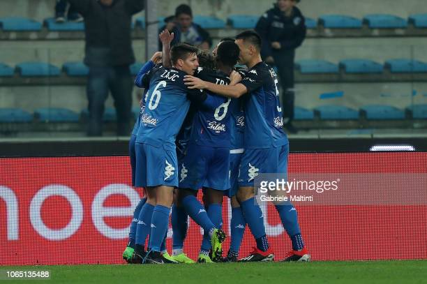 Antonino La Gumina of Empoli FC celebrates after scoring a goal during the Serie A match between Empoli and Atalanta BC at Stadio Carlo Castellani on...