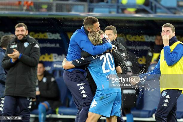 Antonino La Gumina of Empoli FC celebrates after scoring a goal during the Serie A match between Empoli and Bologna FC at Stadio Carlo Castellani on...