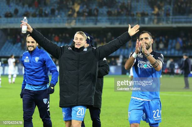 Antonino La Gumina of Empoli FC celebrates the victory after the Serie A match between Empoli and Bologna FC at Stadio Carlo Castellani on December 9...