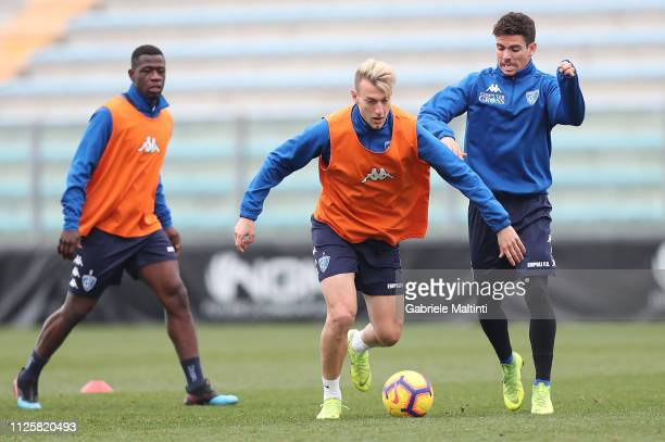 Antonino La Gumina of Empoli FC controls the ball during training session on February 19 2019 in Empoli Italy
