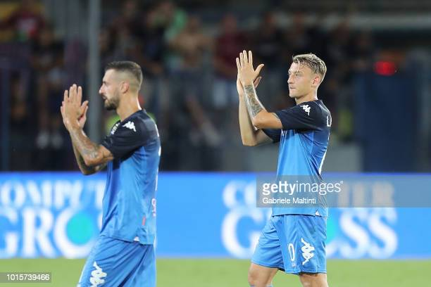 Antonino La Gumina of Empoli Fc greets fans after the Coppa Italia match between Empoli FC and Cittadella at Stadio Carlo Castellani on August 12...