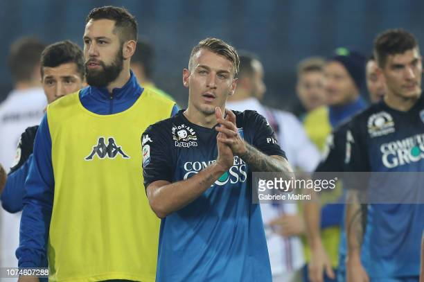 Antonino La Gumina of Empoli Fc greets fans after the Serie A match during the Serie A match between Empoli and UC Sampdoria at Stadio Carlo...