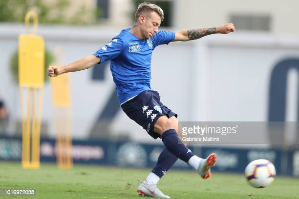 Antonino La Gumina of Empoli FC in action during a training session on August 15 2018 in Empoli Italy